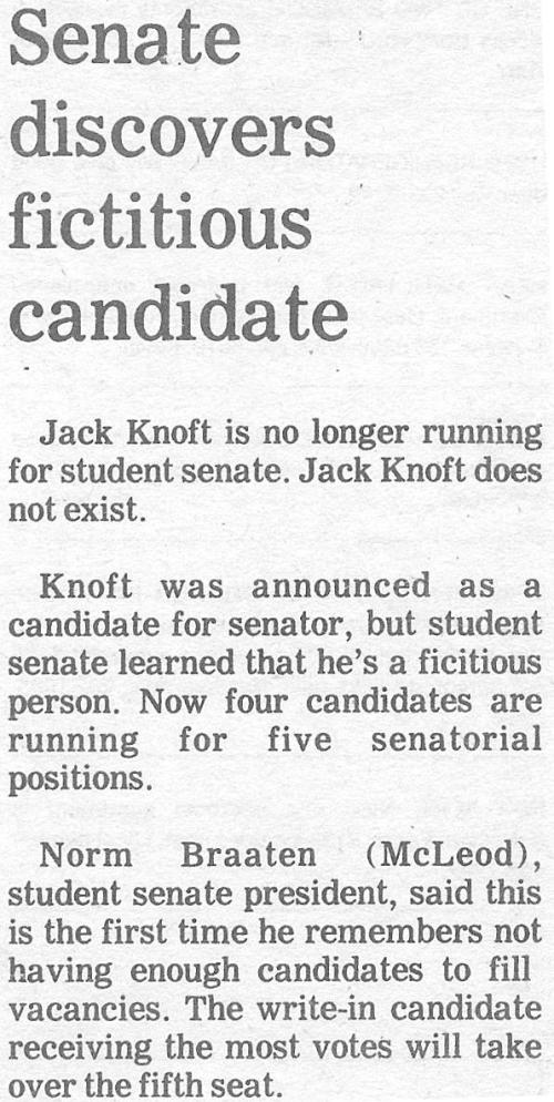 Senate Discovers Fictitious Candidates